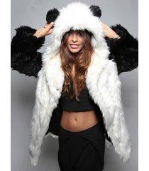new winter womens long sleeve faux fur jacket hooded with bear ear coat outwear