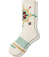 men's bombas geo snowflake crew socks, size large - grey