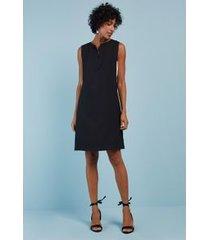 vestido bicolor zíper frente preto/pp