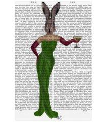 "fab funky rabbit green dress canvas art - 36.5"" x 48"""