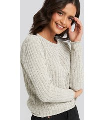 trendyol bike collar chenille sweater - grey
