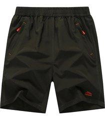 mens plus size pantaloncini da spiaggia solid color short elastic waist short sport shorts da jogging