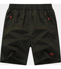 pantaloncini da spiaggia da uomo in tinta unita plus tinta unita pantaloncini sportivi da jogging a vita elastica a rapida asciugatura