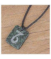jade pendant necklace, 'verdant capricorn' (guatemala)