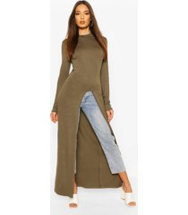 high neck front split top, khaki