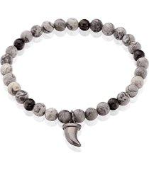 bracciale elastico con cornino portafortuna in pietre e acciaio per uomo