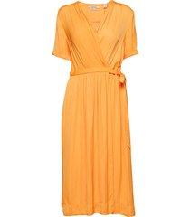 midi length wrapover dress jurk knielengte oranje scotch & soda
