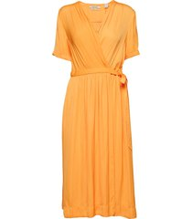 midi length wrapover dress jurk knielengte oranje scotch & soda