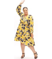 lane bryant women's beauticurve crossover midi dress 14/16 yellow & black floral