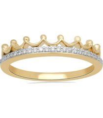 enchanted disney fine jewelry diamond tiara ring (1/10 ct. t.w.) in 10k white, yellow or rose gold