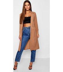 petite woven duster coat, camel