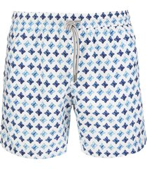 capri code white swimsuit with blue butterflies pattern