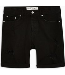 mens black ripped stretch skinny denim shorts