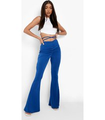 broek met geplooide taille en bandjes, electric blue