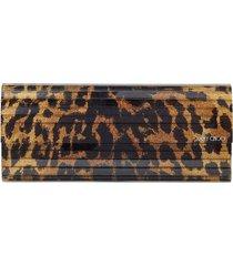 jimmy choo leopard-print sweetie clutch - brown