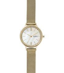 skagen women's anita gold-tone stainless steel mesh bracelet watch 30mm
