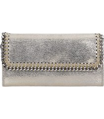 stella mccartney falabella wallet in platinum faux leather