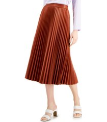 alfani petite faux-leather pleated midi skirt, created for macy's