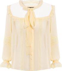 camisa feminina perola couture - amarelo