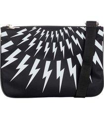 neil barrett thunderbolt leather pouch bag