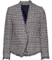collarless metallic tweed blazer blazer colbert multi/patroon banana republic