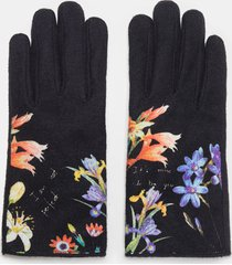 gloves flowers and text - black - u