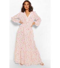 bloemenprint maxi jurk met knopen, crème