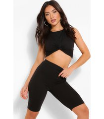 twist front crop top & cycle shorts, black