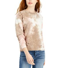almost famous juniors' ripped tie-dyed sweatshirt