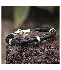 men's leather braided bracelet, 'bold black' (peru)