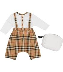 boy's burberry bertie organic cotton bodysuit & check overalls set