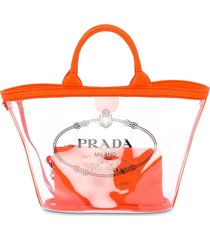 prada sheer logo tote bag - orange
