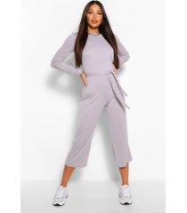 lang geribde broekrok-jumpsuit met knoopceintuur, grijs