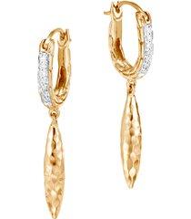 women's john hardy classic chain hammered spear 18k gold & diamond pave hoop drop earrings