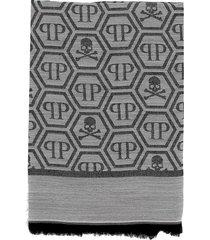philipp plein white/silver scarf