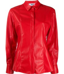 msgm panelled faux-leather shirt - red