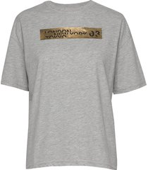 brand language city box fit tee t-shirts & tops short-sleeved grå superdry