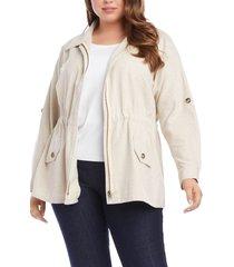 plus size women's karen kane cotton cargo jacket