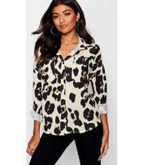 luipaardprint blouse met zakken, cream