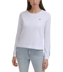 tommy jeans solid striped-sleeve sweater
