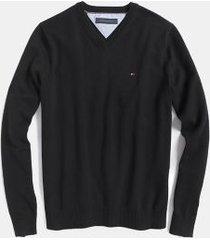 tommy hilfiger men's essential v-neck sweater deep black - xxxl