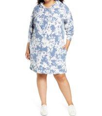 plus size women's caslon tie dye long sleeve hoodie dress, size 1x - blue