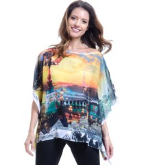 blusa 101 resort wear ponch tunica decote v estampada paris