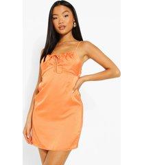 petite satijnen mini jurk met geplooide buste, orange