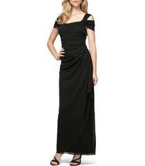 women's alex evenings cold shoulder chiffon gown, size 16 - black