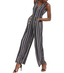 inc striped button-detail jumpsuit, created for macy's