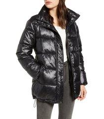 women's via spiga stand collar water resistant puffer coat, size large - black