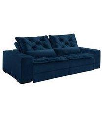 sofá 3 lugares retrátil e reclinável dallas i veludo jolie azul marinho