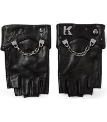 karl lagerfeld k/seven black leather gloves