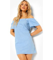 chambray mini jurk met uitgesneden hals, mid blue
